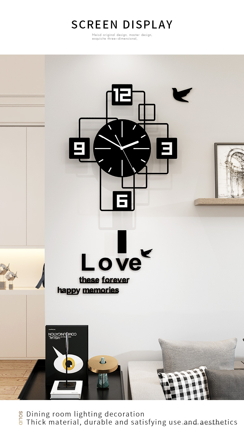 Swingable Large Wall Clock for Living Room Home Decor