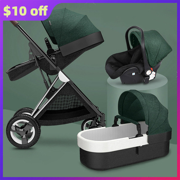 2020 Luxury Baby Stroller 3 in 1 High Landscape Baby Cart Collapsible Infant Pushchair Fashion Bebe Carriage Babyfond Traveling
