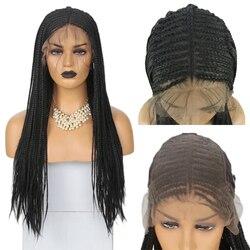 Rongduoyi Lange Wärme Beständig Geflochtene Box Zöpfe 13x6 Spitze Vorne Perücken für Frauen Schwarz Haar Synthetische Spitze Perücke mit Baby Haar