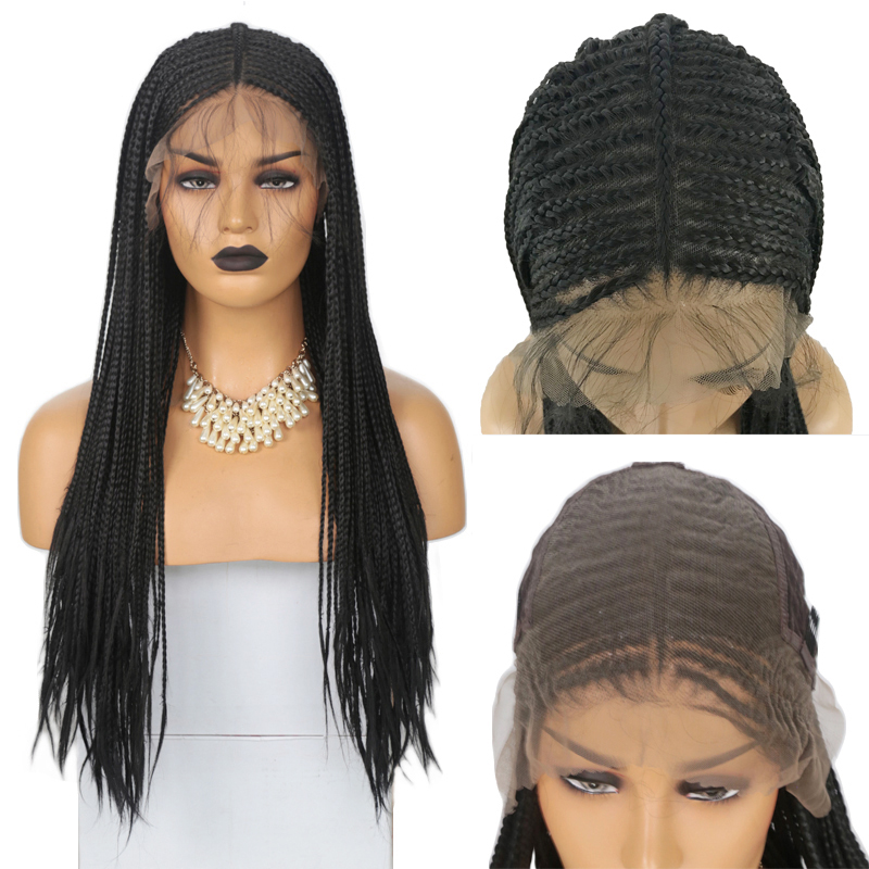Rongduoyi Long Heat Resistant Braided Box Braids 13x6 Lace Front Wigs For Women Black Hair Synthetic Lace Wig With Baby Hair