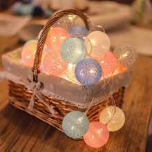 Ball-Lights Light-Lamp Garland Party-Decoration Outdoor Cotton Holiday-Fairy Xmas Christmas