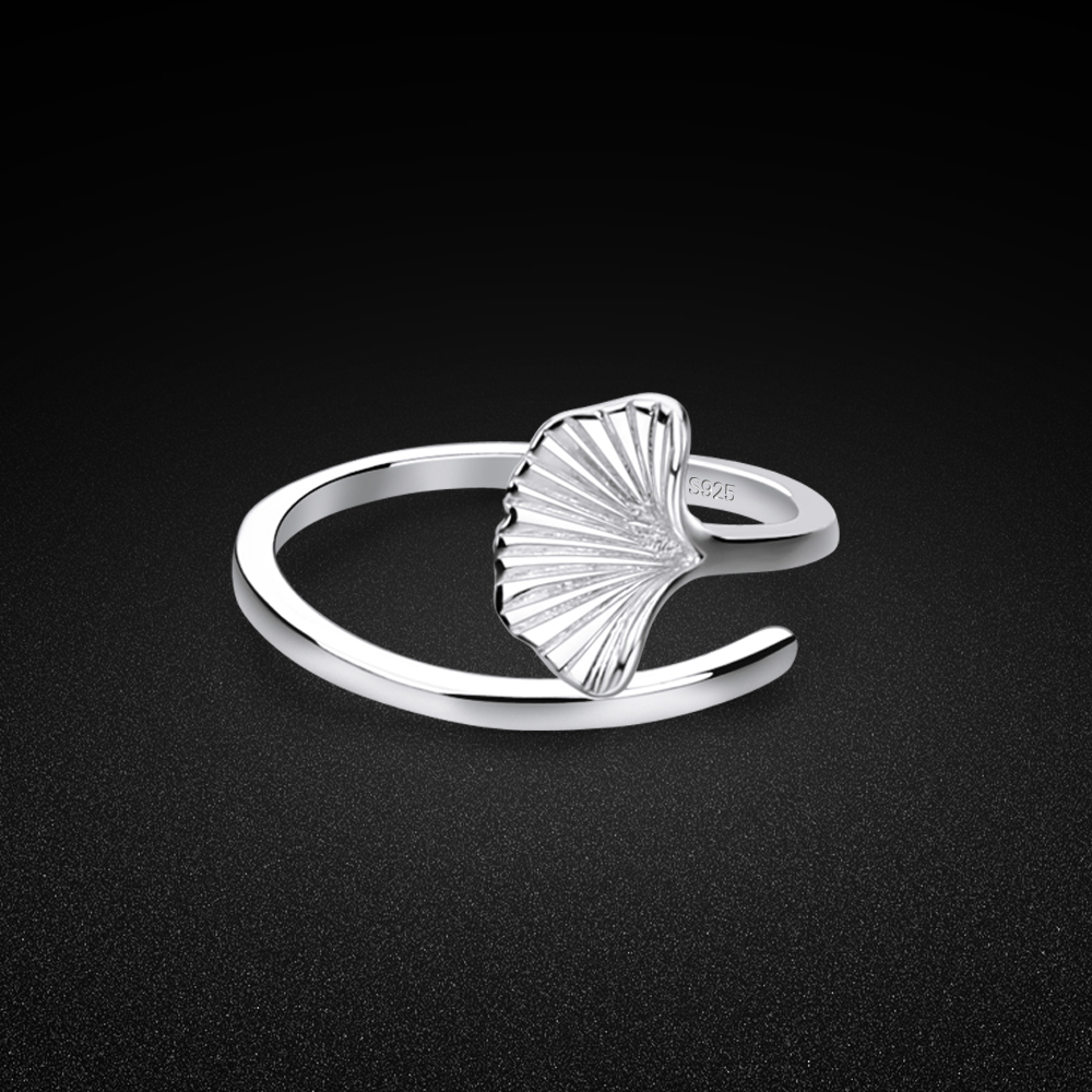 Minimalist Women's Original 925 Silver Ring Creative Ginkgo Leaf Design Open Ring Charm Jewelry Tail Ring Free Adjustment