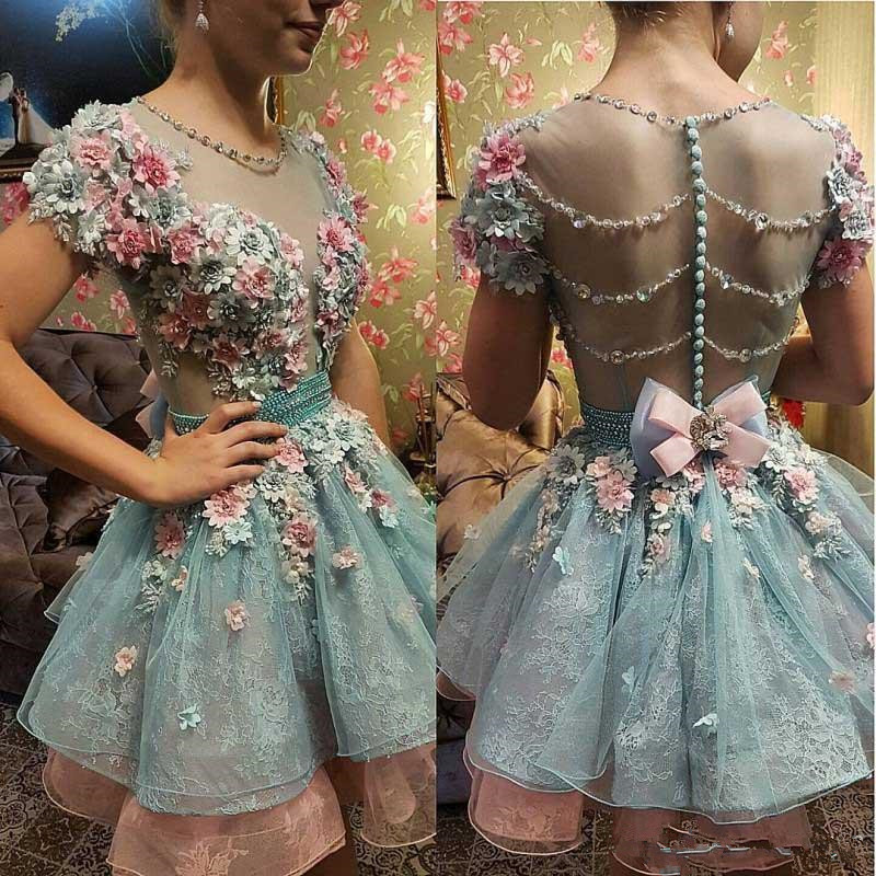 Hot 3D Floral Appliqued Homecoming Dresses Sweet 16 Short Sleeve Beads Prom Gowns Plus Size Vintage Formal Evening Dress