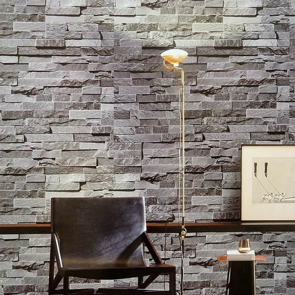 Modern Chinese Style 3D Brick Pattern Wallpaper Model Brick Art Stone Bricks Hotel KTV Hotpot Restaurant Wallpaper