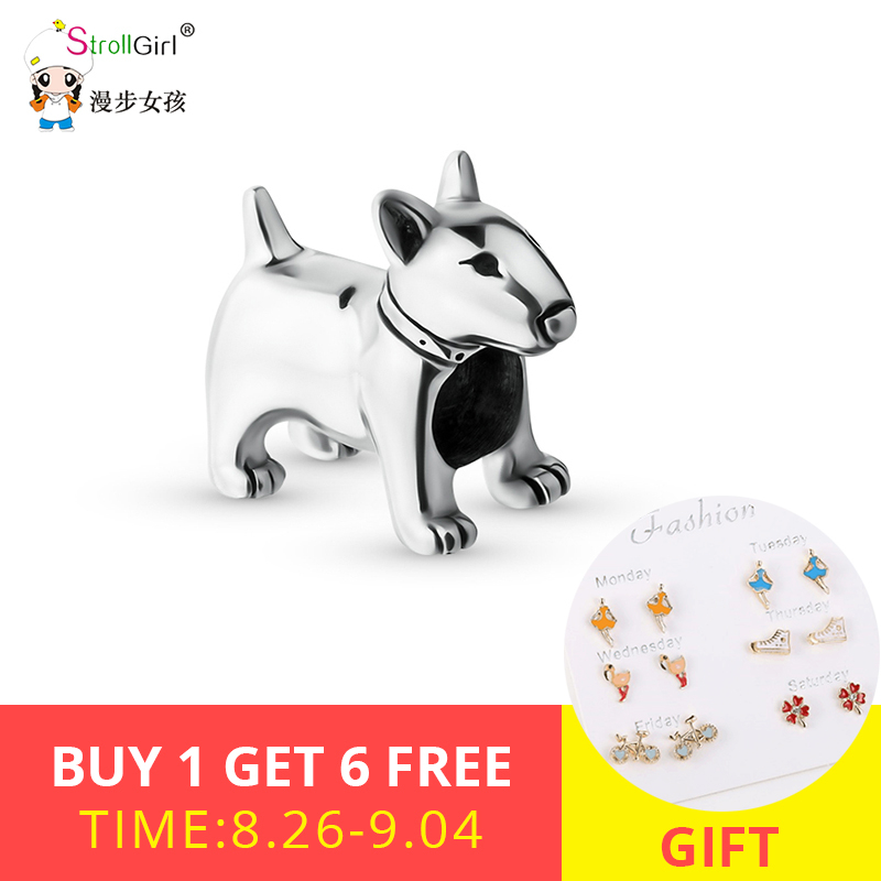 Strollgirl Beads Animal Bracelets Jewelry Charms Bull Terrier 925-Sterling-Silver Personalized