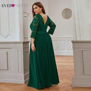 Image 4 - חתונה מסיבת שמלה בתוספת גודל אי פעם די אלגנטי קו O צוואר שלושה רובע שרוול ארוך תחרת אמא של כלה שמלות 2020