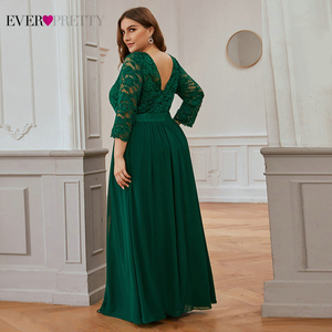 Image 4 - Wedding Party Dress Plus Size Ever Pretty Elegant A Line O Neck Three Quarter Sleeve Long Lace Mother Of The Bride Dresses 2020