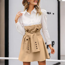 Fadzeco Patchwork Puff Sleeve Shirt Dress Women Elegant Button Sash Belt Office Ladies A-line Dresses Autumn Khaki Work Dress