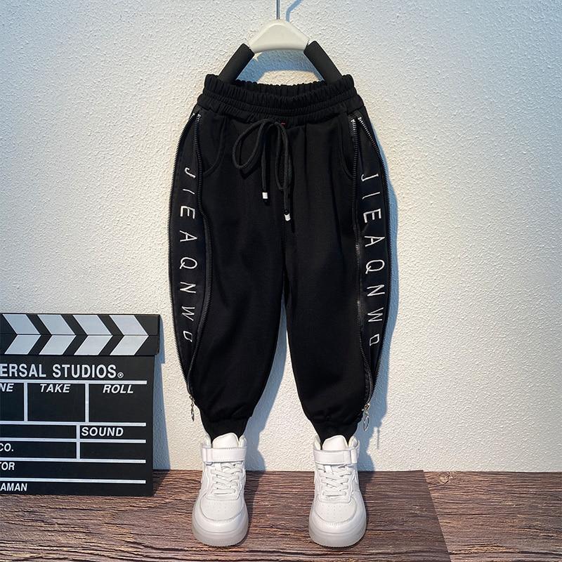 2 3 4 5 6 7 8 Years Little Boys Pants Casual Sweatpants Side Letter zipper Trousers Harem Jogger Pants Children Baby boy Clothes