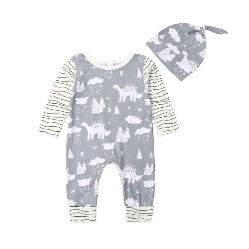 2Pcs Newborn Infant Baby Girl Boy Striped Long Sleeve Romper Dinosaur Jumpsuit Hat Clothes Outfit