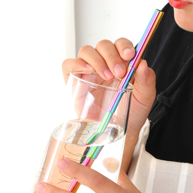 Telescopic Reusable Straws Portable Stainless Steel Metal Drinking Straw with Travel Case for Outdoor Bar Home Party Supplies !