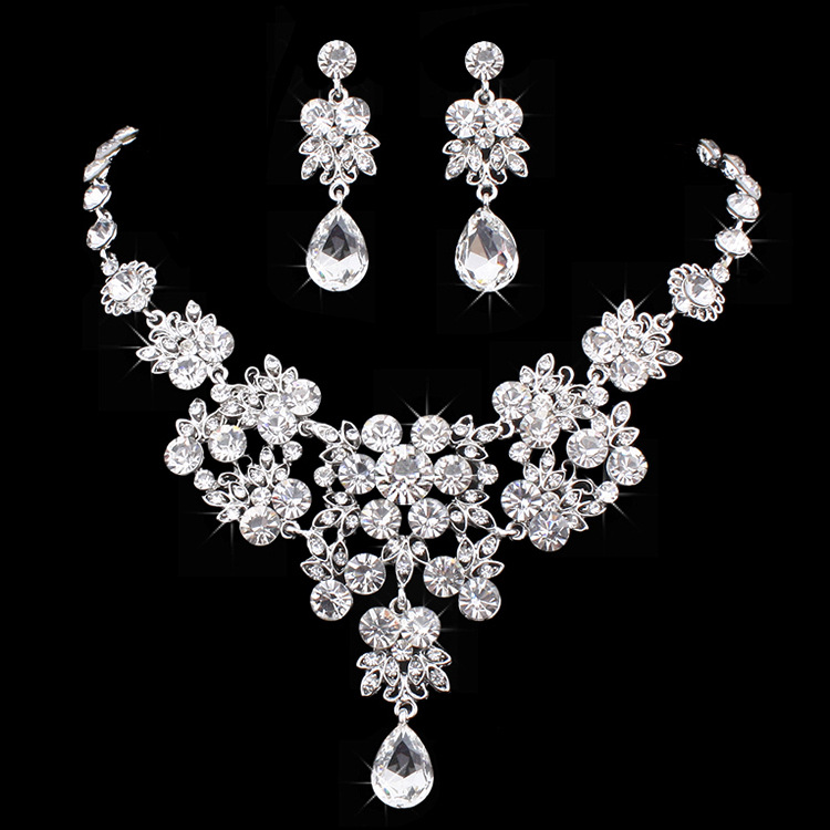 Cute Female Crystal Jewelry Set Charm Gold Silver Color Wedding Drop Earrings For Women Luxury Bridal Flower Chain Necklace
