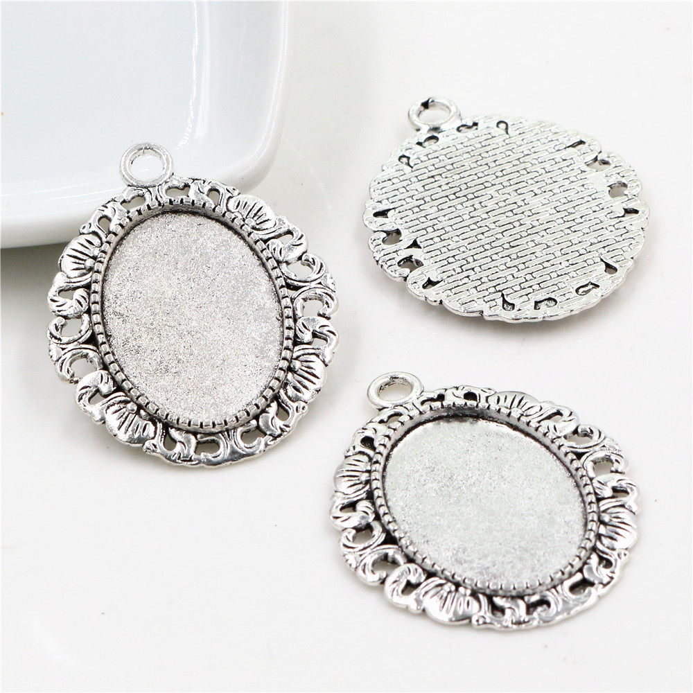 5pcs 18x25mm Inner Size Antique Silver Plated Flowers Style Cameo Cabochon Base Setting Pendant Necklace Findings  (C2-20)