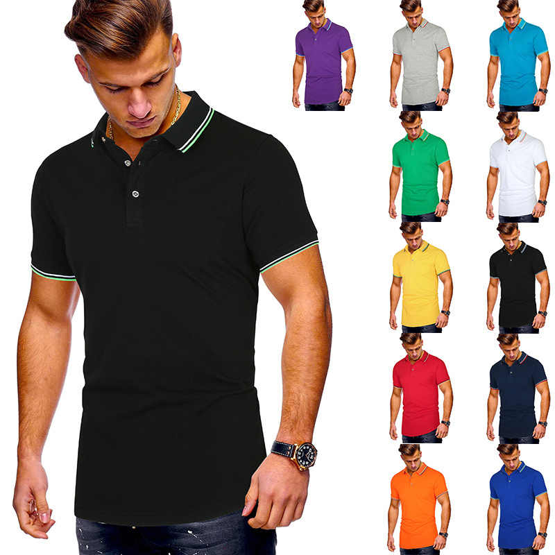 Neue Schwarz Polo-Shirt Männer Polo Homme 2020 Sommer Mode Einfarbig Slim Fit Herren Polos Casual Marke Kurzarm polo Shirts