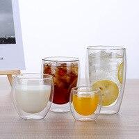 6 pezzi 80-450ml tazza di isolamento in vetro a doppio strato caffè latte tè tazza di bevande vetro borosilicato ufficio casa tazza creatività sicurezza