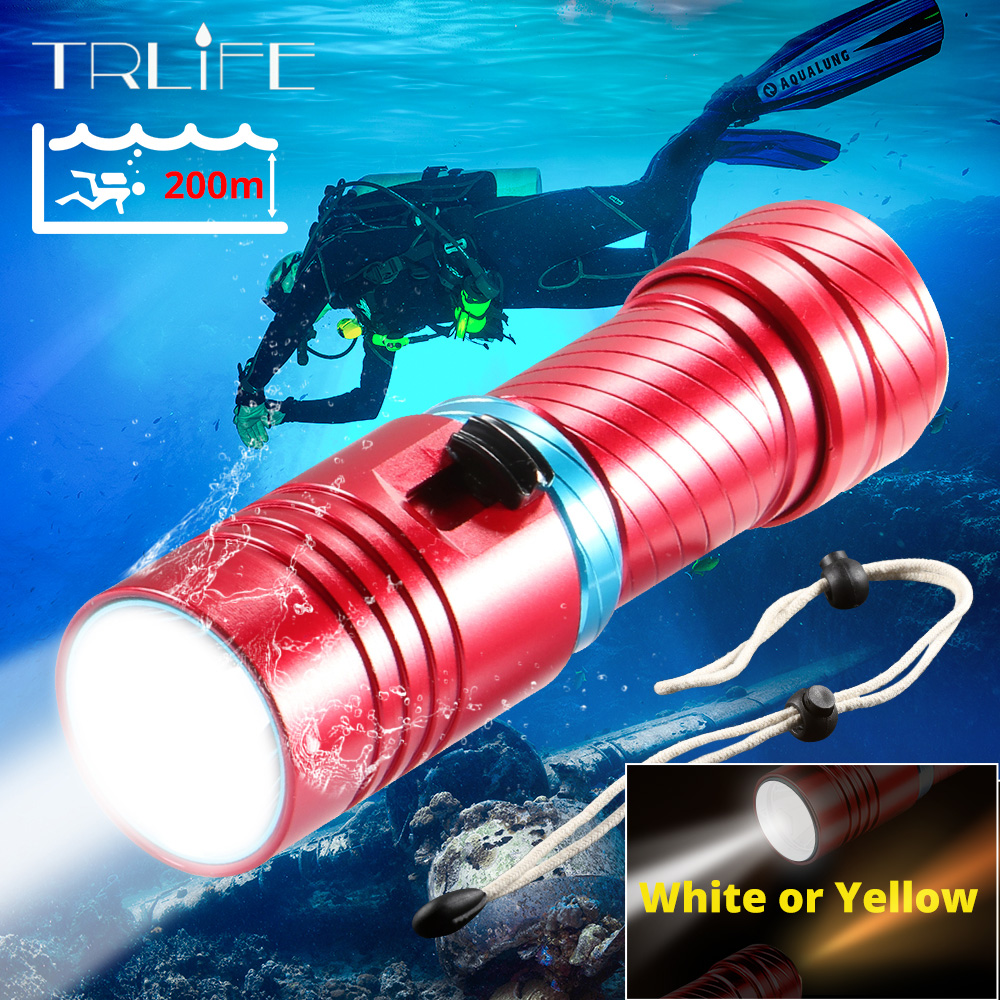 IPX8 Waterproof Dive Underwater 200 Meter Professional Diving Flashlight Torches White Yellow Lamp Dive Light Camping Lanterna