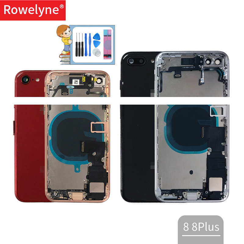 Full Housing For Iphone 8 8Plus Plus Back Battery Cover Door Middle Frame Chassis + Glass Cover With Flex Cable Parts Assembly