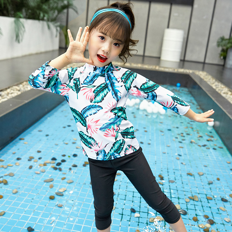 South Korea CHILDREN'S Swimwear GIRL'S Small CHILDREN'S Baby Split Type Long Sleeve Sun-resistant Quick-Dry Beach Holiday Swimwe