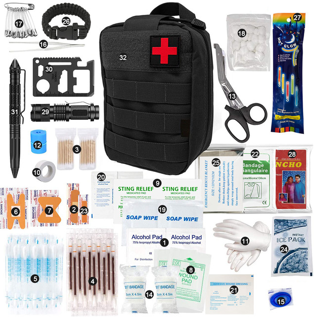 250 Pieces Pouch Emergency First Aid Survival Kits Trauma Bag Outdoor Gear Storage Compact for Camping Hiking Hunting Travel