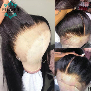 Image 3 - Preplucked 13x4 Silky Straight Lace Front Human Hair Wigs With Baby Hair Remy Peruvian Human Hair wig for women 130 FlowerSeason