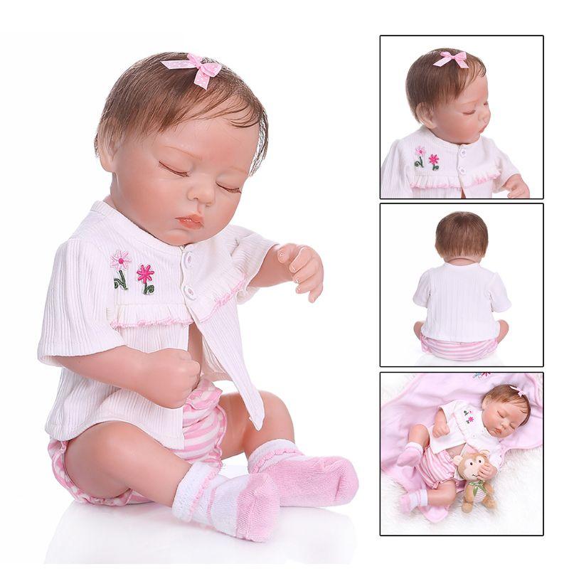 48cm Reborn poupée réaliste plein Silicone vinyle nouveau-né dormir bébés singe jouet vêtements réaliste à la main cadeau R7RB