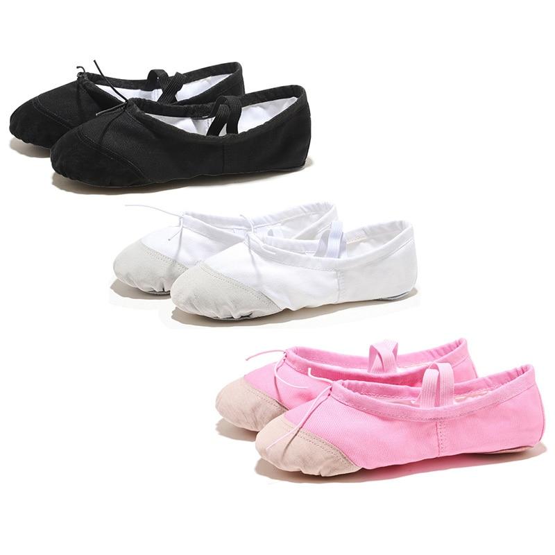 USHINE Flat Leather Head Red Pink Soft Zapatos De Punta De Ballet Slippers BD Ballet Belly Gym Yoga Dance Shoes Kids Woman man
