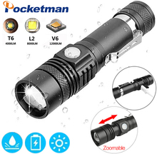 12000LM Flashlight led torch 4modes T6/L2/V6 with USB power by 1*18650 battery Zoomable lanterna bicycle light classic black portable 5000 lumens xml t6 zoom spotlight led flashlight torch hunting tactical flashlight 18650 flashlight