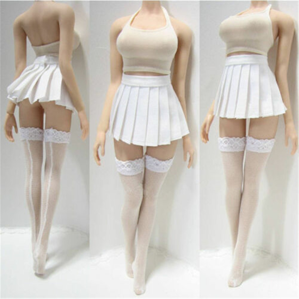 1/6th Female Tight Camisole&White Dress&Stocking Clothes Set 12'' Action Figure Suit Accessories