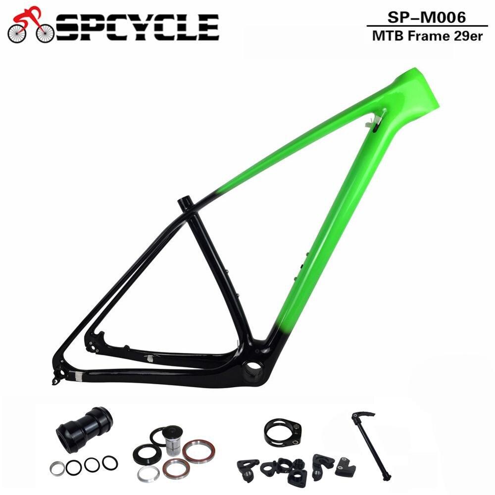 Spcycle 29er Full Carbon MTB Bicycle Frame 27.5er Mountain Bike Carbon Frame 650B T1000 Carbon Hardtail Frames Gradient Color