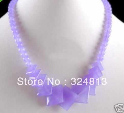 """18 """"urocza biżuteria naturalny fioletowy Jade naszyjnik z koralików"""