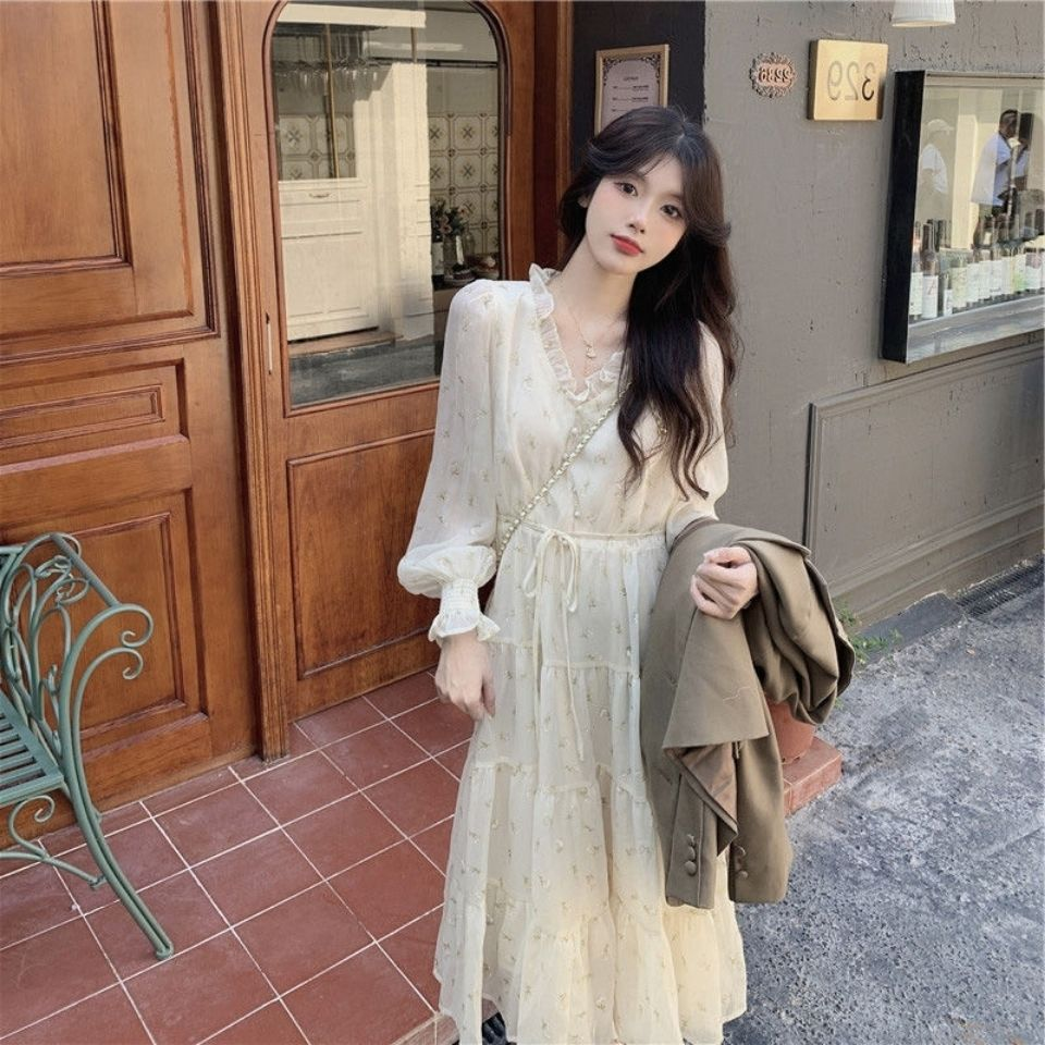 Ruffles Chiffon Dress 2021 Summer Women Fairy Sweet V Neck A Line Flowers Print Flare Sleeve Long Dresses Chic Design Clothes