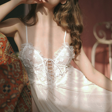 White Slip Nightdress Charming Women Sexy Lace Embroidered Beauty Back Fairy Temptation Nightwear with Panty Drop Shipping