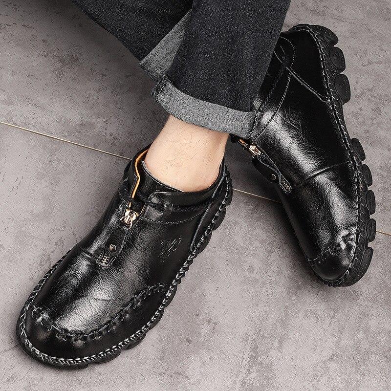 Alta qualidade de couro genuíno dos homens botas moda zíper sapatos masculinos couro de vaca homem marrom tornozelo botas 2019 outono mais tamanho 38-48 5