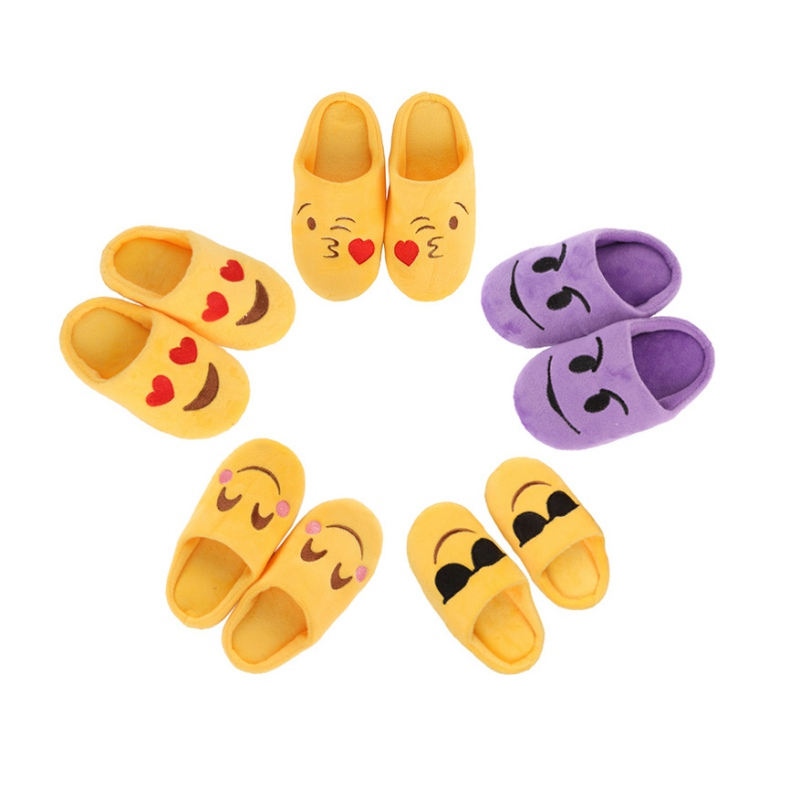 Baby Girl Boys Winter Warm Cute Slippers Expression Package Cotton Slippers Children Smiling Face Section Cool Style Flip Flop