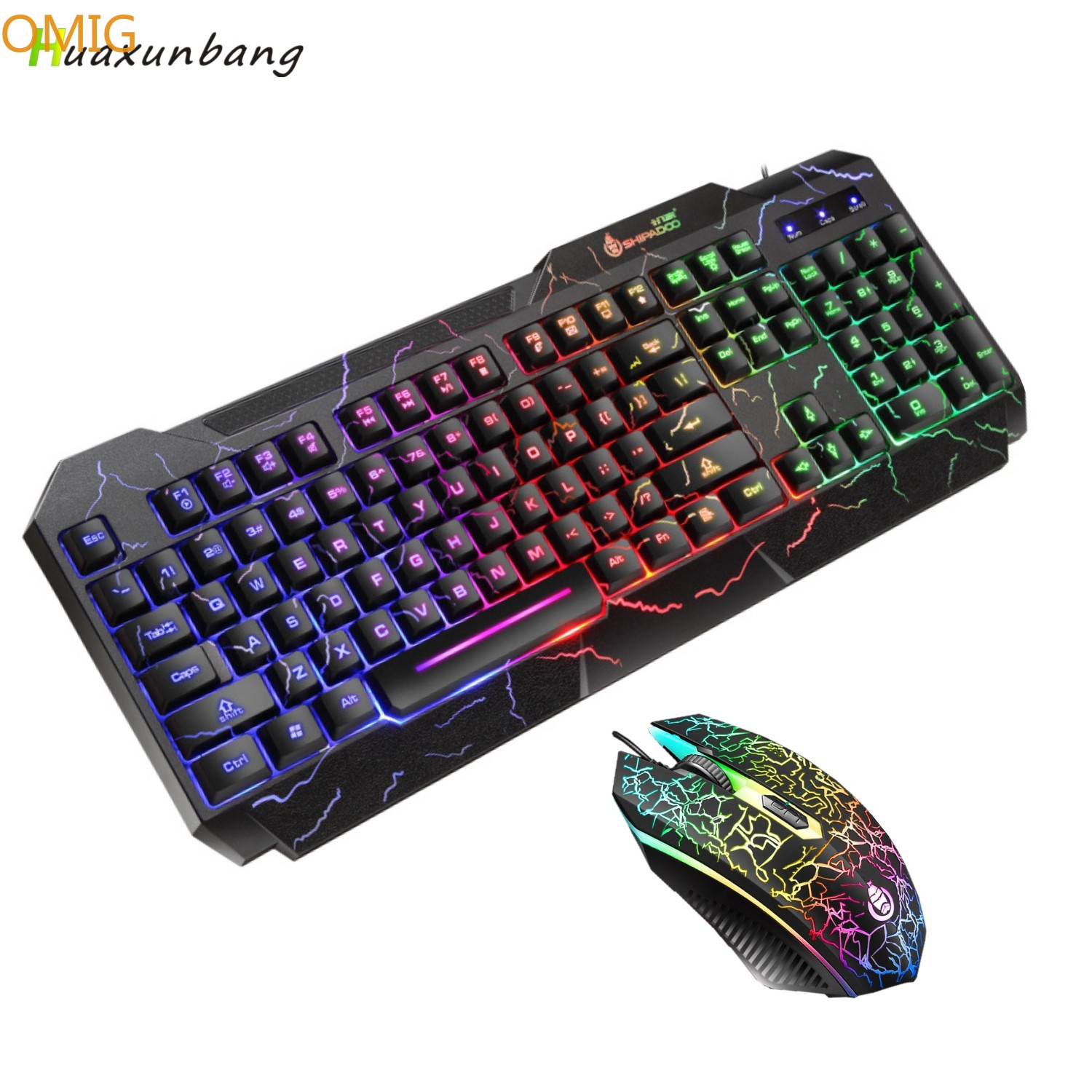 Gaming Keyboard Mouse Combo USB Wired Luminous Keybord Gamer Kit Waterproof MultiMedia LED Backlit Keyboard And Mouse Set For PC