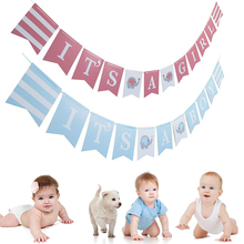3M Baby Shower Gender Reveal Party Decoration Pink Blue Elephant IT'S A GIRL BOY Banner Baby Shower Flag 1st Birthday Decor цена