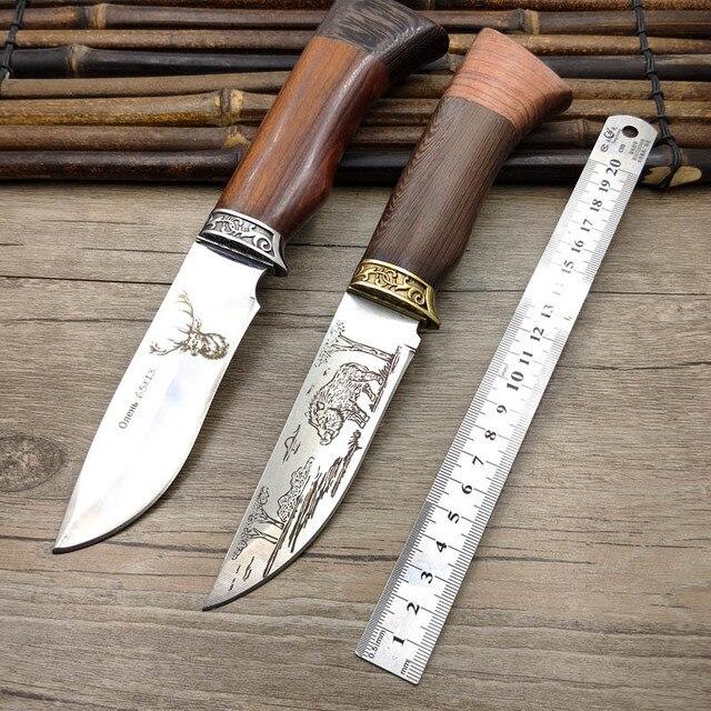 Нож с фиксированным лезвием из нержавеющей стали 440C, ручка венге, EDC, затачивающий охотничий нож, нож для выживания на открытом воздухе, рога, с рисунком кабана