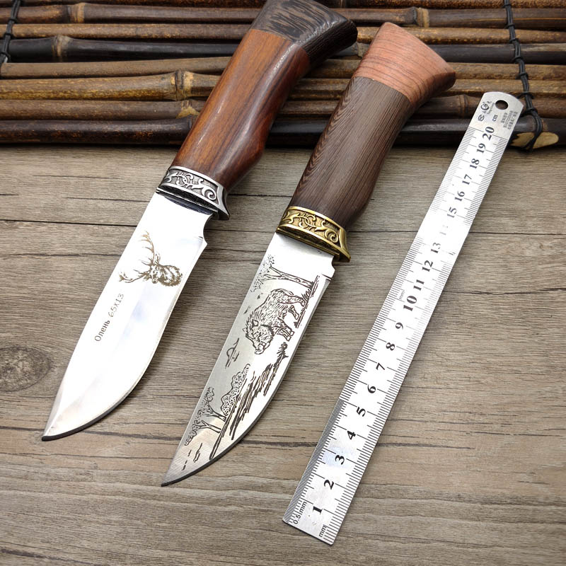 Dropship 440C Stainless Steel Fixed Blade Wenge Handle EDC Sharpen Hunting Knife Outdoor Survival Knife Antler Boar Pattern