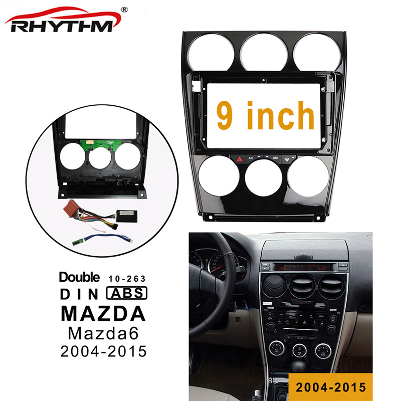 9 inch 2din car Fascia wires board control CANBUS work For <font><b>Mazda</b></font> <font><b>6</b></font> 2004-2015 Stereo Panel Dash Installation Double <font><b>Din</b></font> DVD frame image