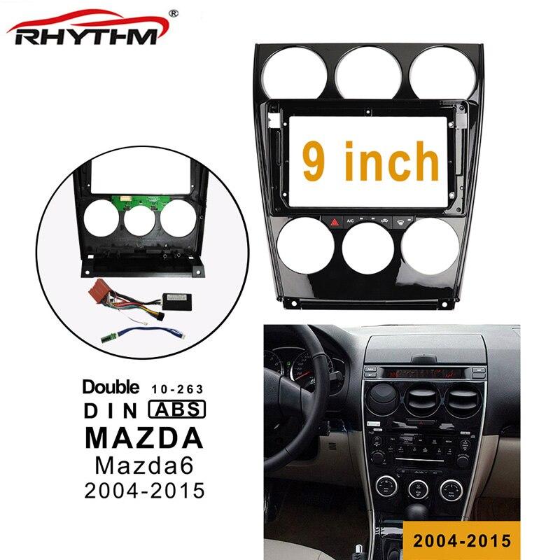 Cables de la Fascia del coche de 9 pulgadas 2din trabajo de la placa de control CANBUS para la instalación del Panel estéreo Mazda 6 2004-2015 marco doble Din DVD