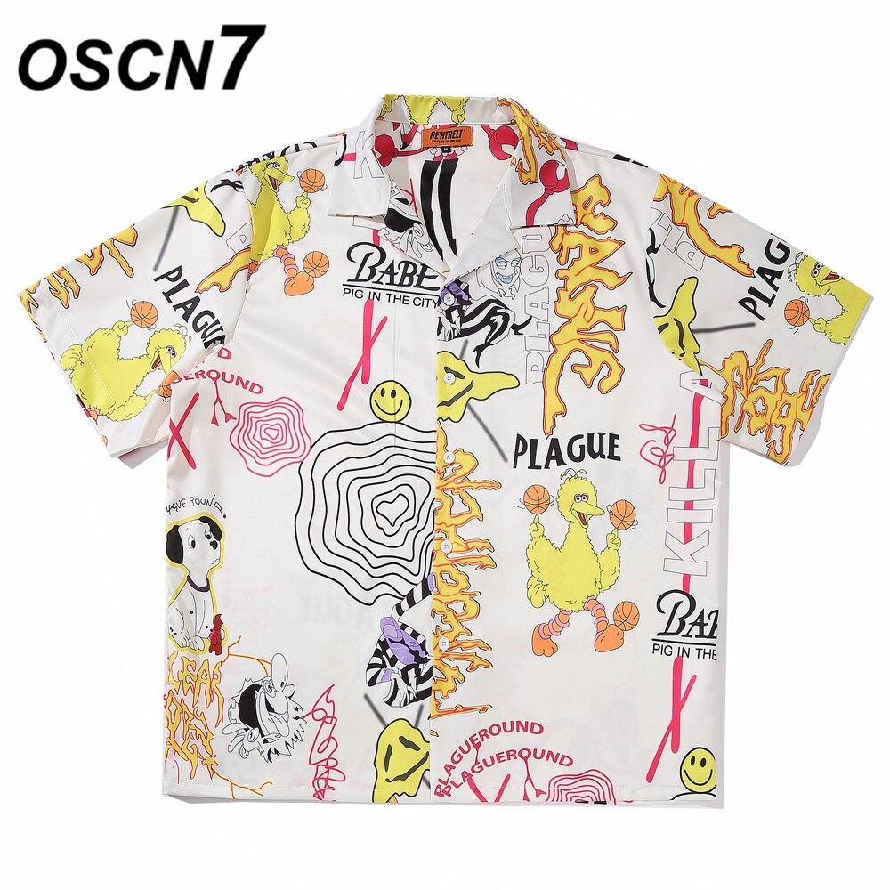 OSCN7 Casual Printed Short Sleeve Shirt Men Street 2020 Hawaii Beach Oversize Women Fashion Harujuku Shirts For Men A08