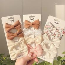 4 unids/set ropa de algodón impreso leopardo lazo pelo Clips lindo pasadores para niñas de seguridad horquillas sombreros Niños Accesorios para el pelo