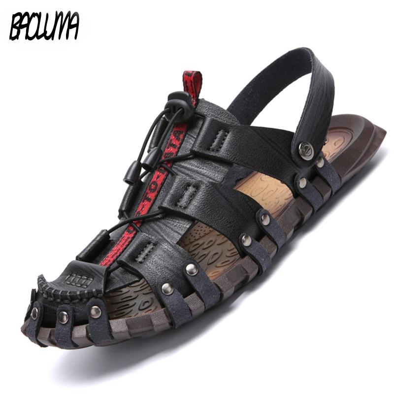 2020 Summer Men's Sandals Breathable Beach Outdoor Shoes Summer Roman Men Sandals High Quality Sandals Slippers Soft Bottom