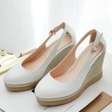 Pumps Shoes Sandals Wedges Heels Platform Pink Ankle-Straps Black White Female Summer
