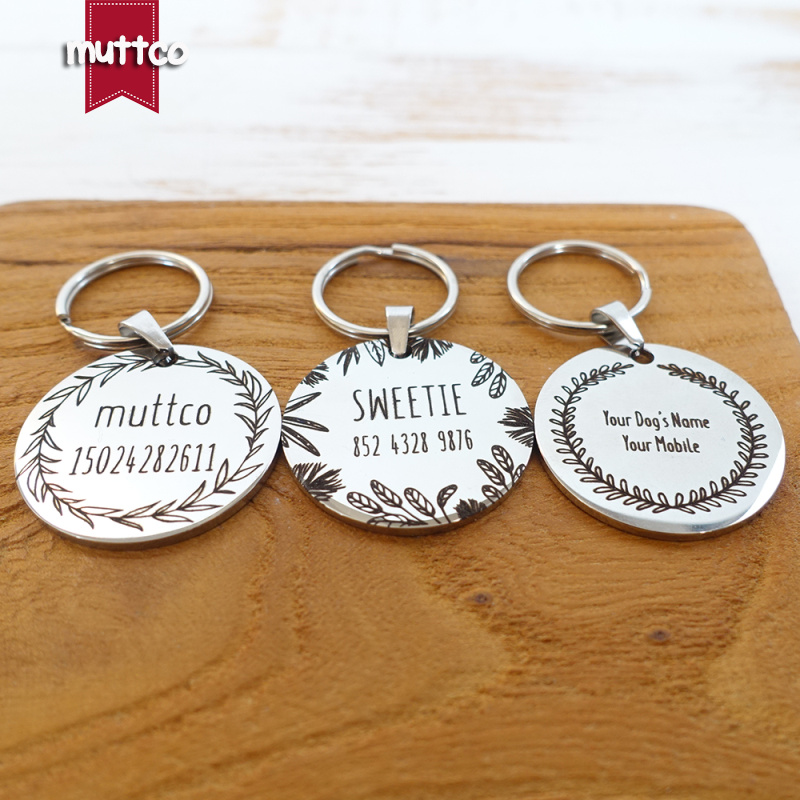 Self-design Personalized Design Stainless Steel Dog Tag Dog Round  Tag Can Crave Name Tag Dog  Tag For Pet 3 Styles
