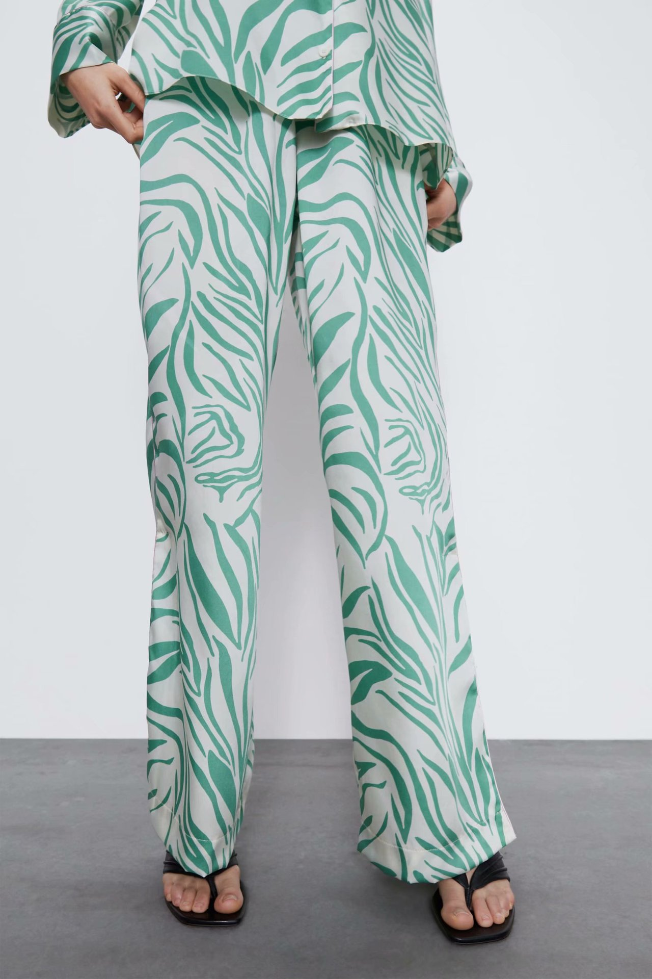 2020 New Spring Summer European Printed Household Female Green Trousers Zaraing Vadiming Sheining WOMEN Pants Trousers BGB2145