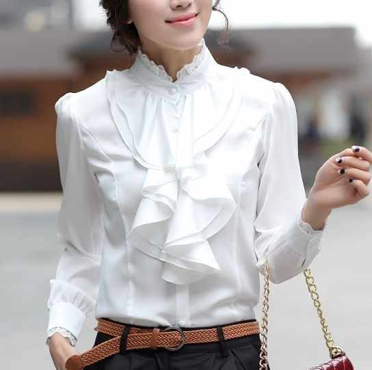 Women Pink White Silver Tops Blouses Long Sleeve Womens Work Ruffle Shirts Stand Collar Slim Waist Shirts Office Ladies Camisa