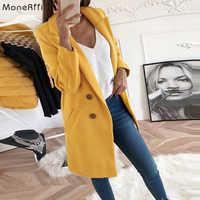 Monerffi 2020 nova mulher lã mistura casaco manga longa turn-down collar quente outono inverno lã feminino jaquetas casaco feminino xxxl