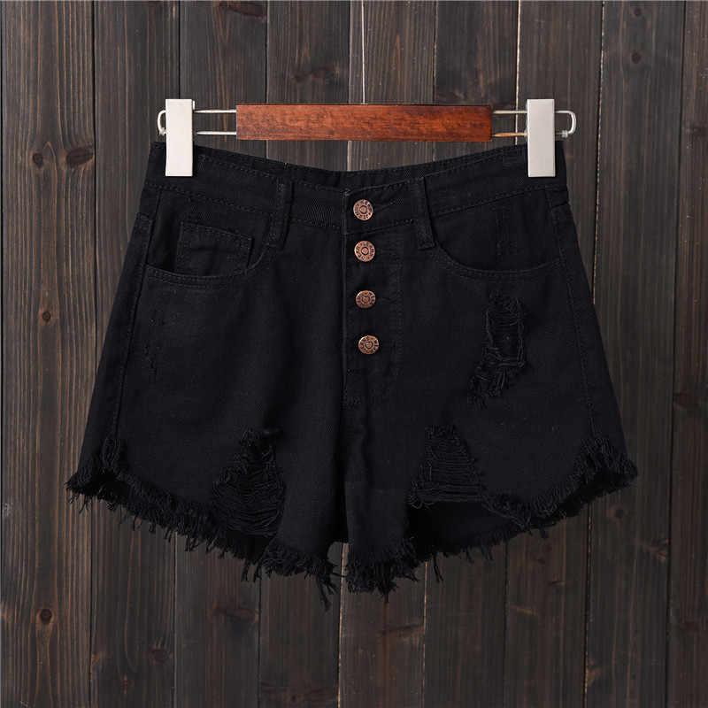 Frauen Shorts 50% Baumwolle Ripped Kurze Jeanes für Weibliche S Zu 6XL Blau Schwarz Weiß Grau Plus Größe Jeans Medium mid Taille Jeans