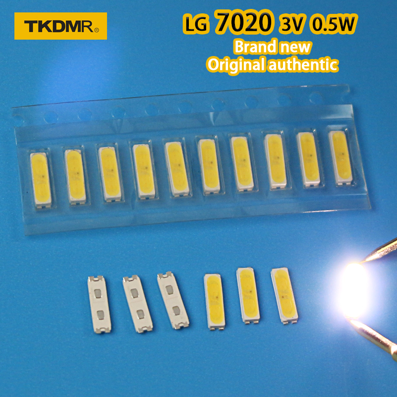 TKDMR 30PCS LG INNOTEDK LED BACKLIGHT 7020 3V 0.5W WHITE COLD 40LM FOR LG TV REPAIR Free Shipping